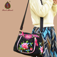 New Arrival Folk Style Embroidery Women Handbags Fashion Vintage Black Canvas Shoulder Messenger Travel Bags