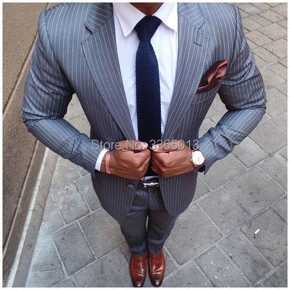 Mens Classic Suits New Designs 2018 Fashion Men Suits Grey Stripes