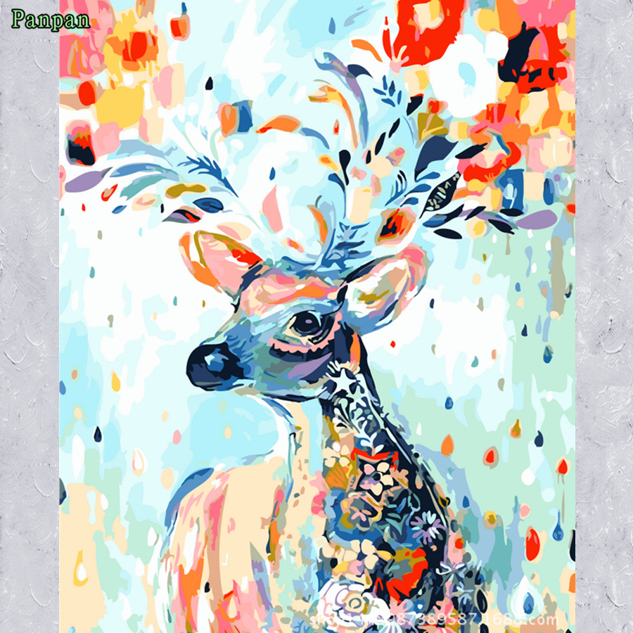 2016 Frameless Diy Digital Oil Painting by Numbers Europe Home decor Wall picture coloring by number Canvas art Hand painted elk