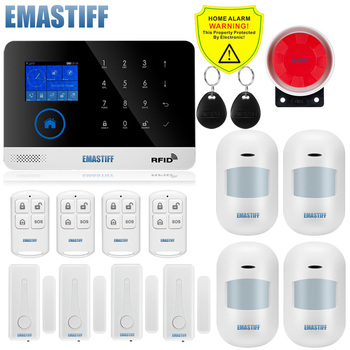 Wireless SIM GSM Home RFID Burglar Security LCD Touch Keyboard WIFI GSM Alarm System Sensor kit English,Russian,Spanish Voice 7