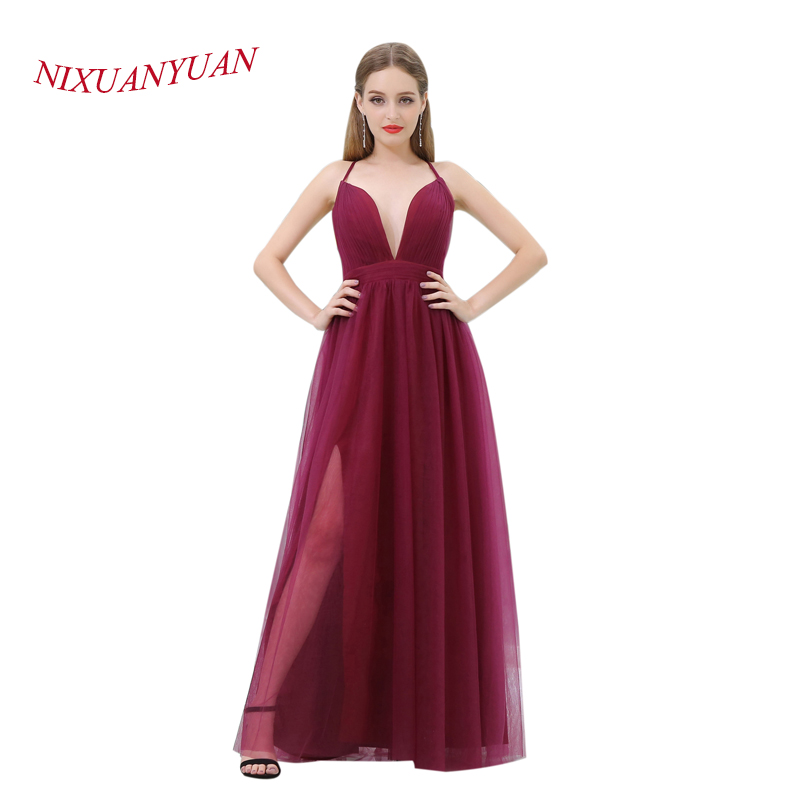 NIXUANYUAN Sexy profonde col en V bordeaux Tulle robes formelles Simple pli robe de soirée 2017 longs vestidos de noite côté Splite