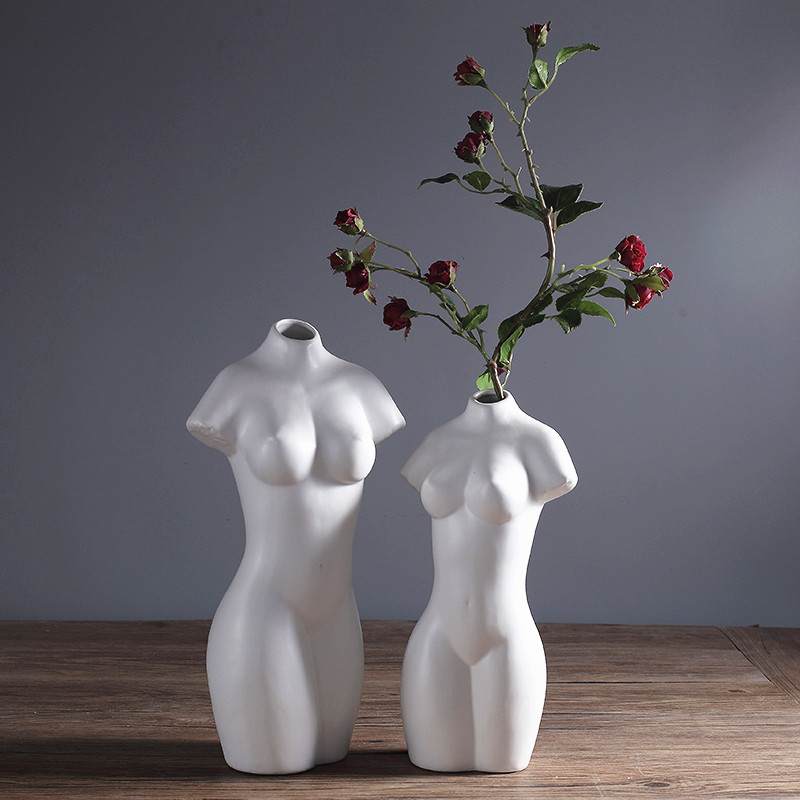 Creative Ceramic Vase Woman Body Shaped White Nude Modern Home Ceramic Abstract OrnamentsCreative Ceramic Vase Woman Body Shaped White Nude Modern Home Ceramic Abstract Ornaments