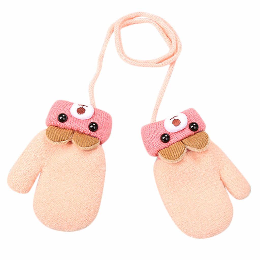 Winter Baby Boys Girls Knitted Gloves Warm Rope Full Finger Mittens Gloves for Children Toddler Hanging neck Gloves Kids 1D19