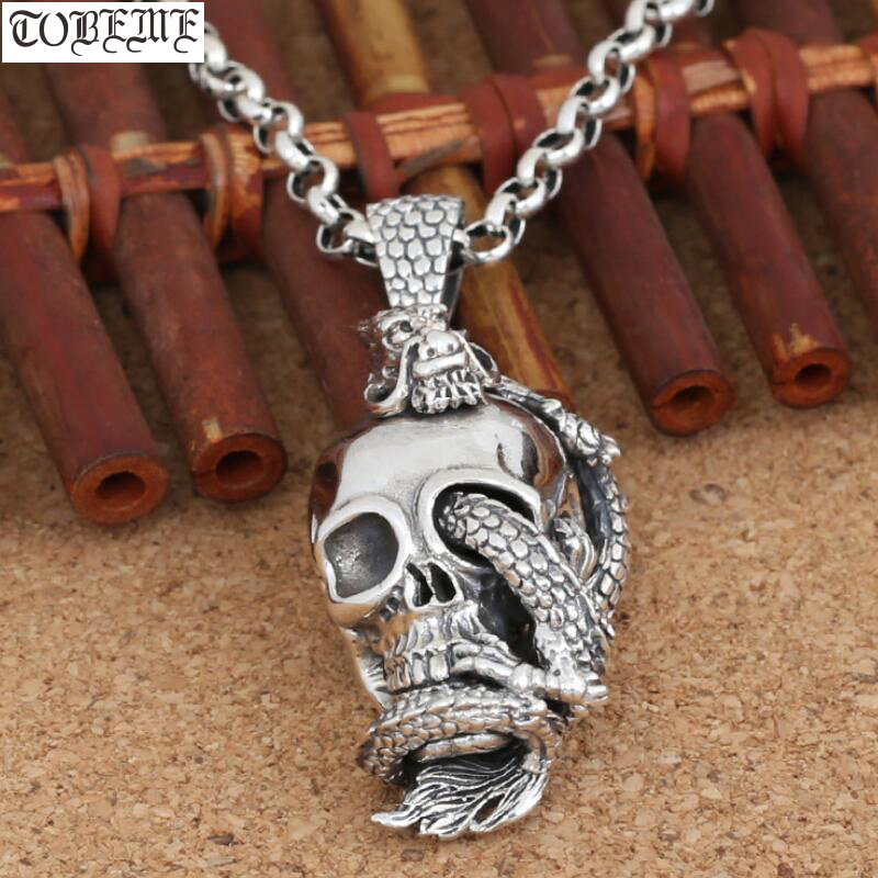 Handcrafted 925 Silver Skull Dragon Pendant vintage sterling silver Dragon pendant man PUNK pendant