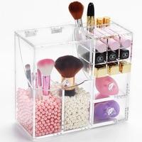 Acrylic Cosmetic Storage Box Makeup Remover Empty Eyelash Container Brush Puff Eyebrow Pencil Lipstick Standtoiletries Organizer