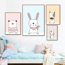Cartoon Rabbit Bear Cat Dog Canvas Painting Wall Art Posters And Prints Animal  Nordic Poster Wall Pictures Baby Kids Room Decor цена