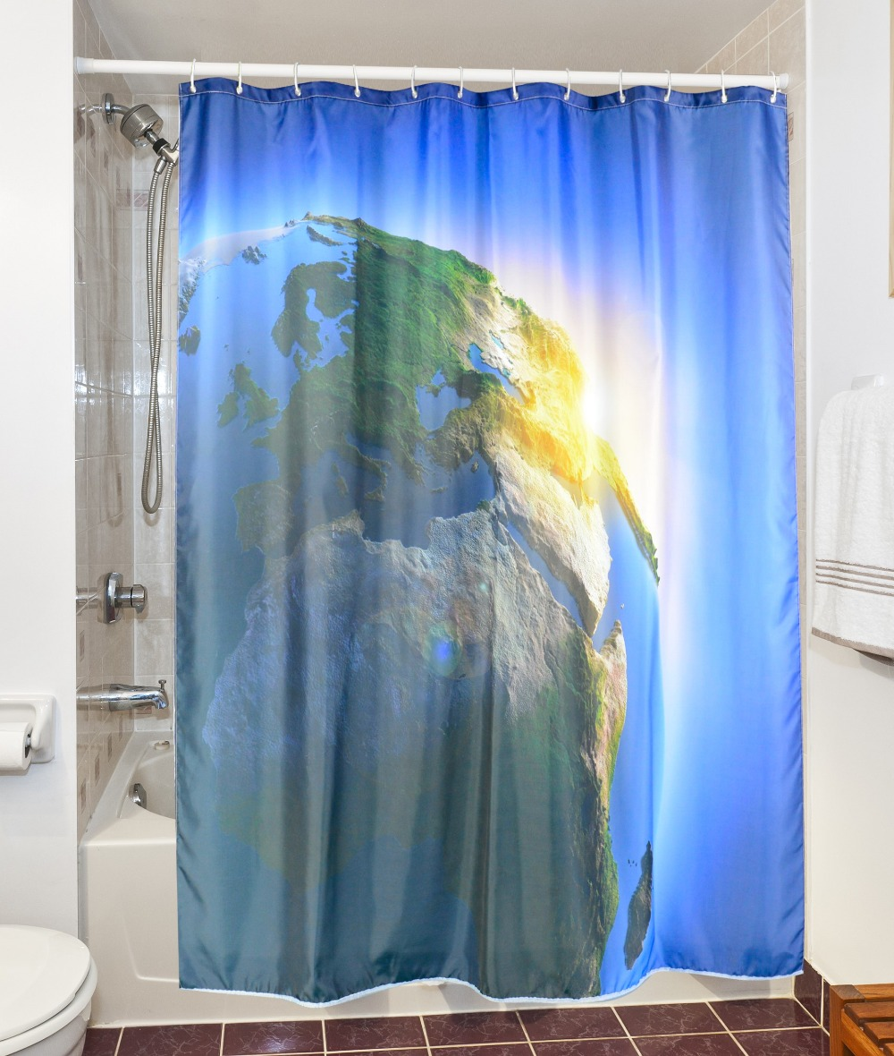 3D Green Earth Waterproof Shower Curtain Polyester Fabric Bathroom Shiny Planet Bath Curtains Cortinas De Bano 180x180cm In From