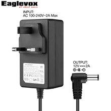 12V 2A Power Adapter Negative Center 100-240V Converter Noiseless Technology UK Plug G Type for Guitar Effect Pedal Power Supply