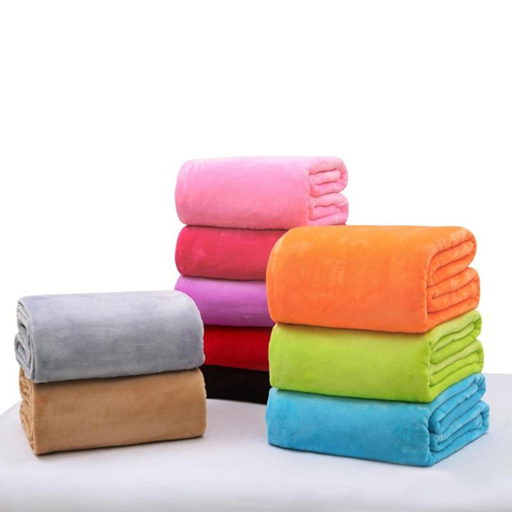 Home Textile Solid Super Soft Throws Flannel Blanket For Air/Sofa/Bedding Bedspread Blanket