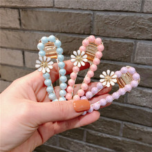 1pc Sweet Hollow Out Water Drop Shape Imitation Pearls Cute Daisy Flower Hair Clips Summer Ice Cream Colors Bobby Pins