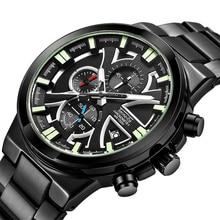 цена на Mens Watches Top Luxury Brand Sports Chronograph Analog Quartz Watch Date Luminous Waterproof Full steel Military Wristswatches