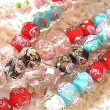 10*8MM 96Pcs Mixed Colors Inner Flower Rondelle Crystal Lampwork Glass Bead Jewelry Beads Accessories Findings