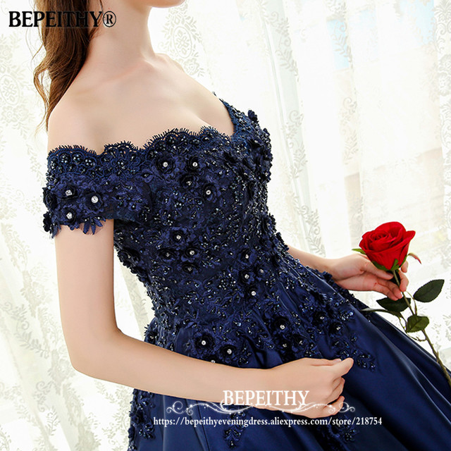 BEPEITHY V-neck Navy Blue Long Evening Dress Lace Beaded Vintage Prom Gowns Vestido De Festa Off The Shoulder Cheap Evening Gown 3