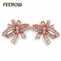 Almass Elegant Princess Jewelry Classical Bowknot Flower Shape AAA Swiss CZ Diamond Small Stud Earrings For