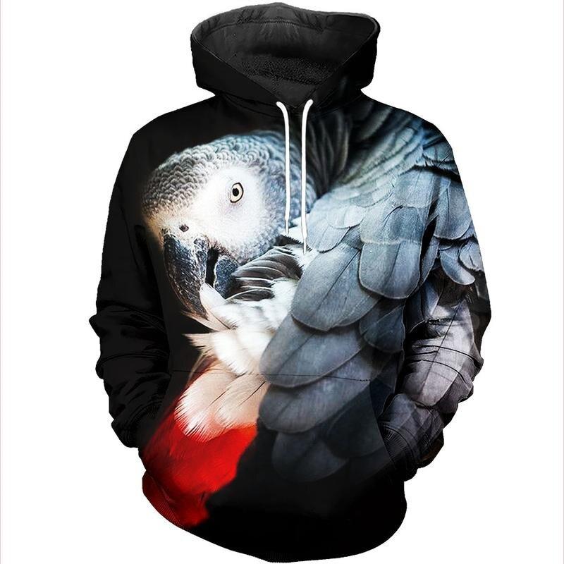 Parrot Hoodies Men Flower Hip Hop  Bird 3d Print Swaetshirt Cool Men Women Clothing Casual Tops Sweatshirt Shirt THS017