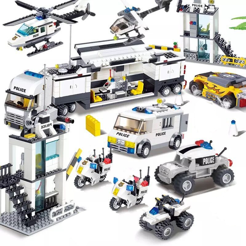 City Police SWAT Helicopter Car DIY Building Blocks Sets Figures Creator Playmobil Bricks Playmobil LegoINGLs Toys For Children