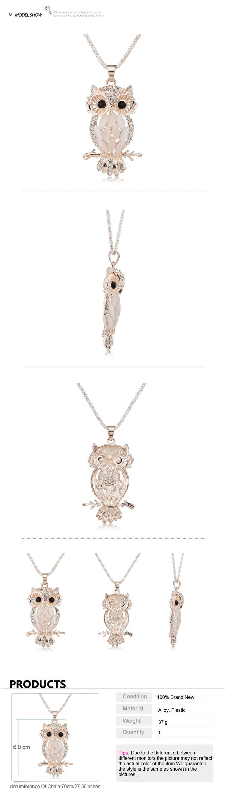 Stylish Owl Crystal Necklaces