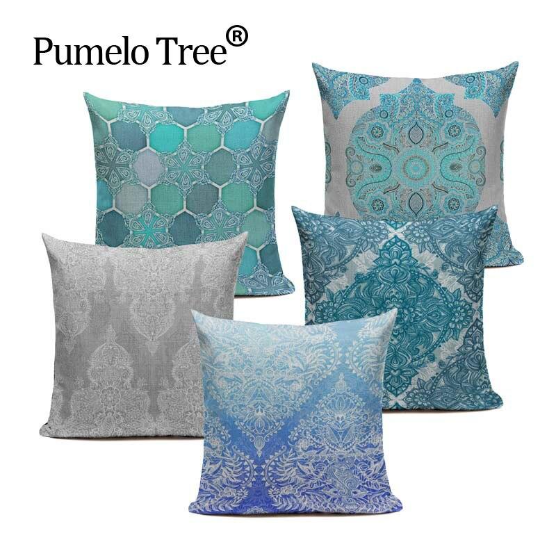 Bohemian Style Flower Mandala Cushion Cover Pillow Case Linen Cotton Pillow Covers Plant sofa Car Seat Decorative Pillowcase