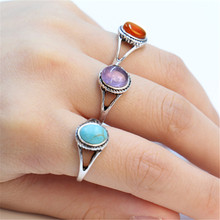 Fashion antique silver ring, artificial turquoise ring,imitation agate red purple stone ring for women, A single sale