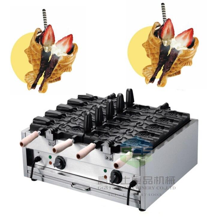 Free shipping Electric 110v 220v 10 pcs Ice cream Taiyaki machine Fish cone waffle maker недорого