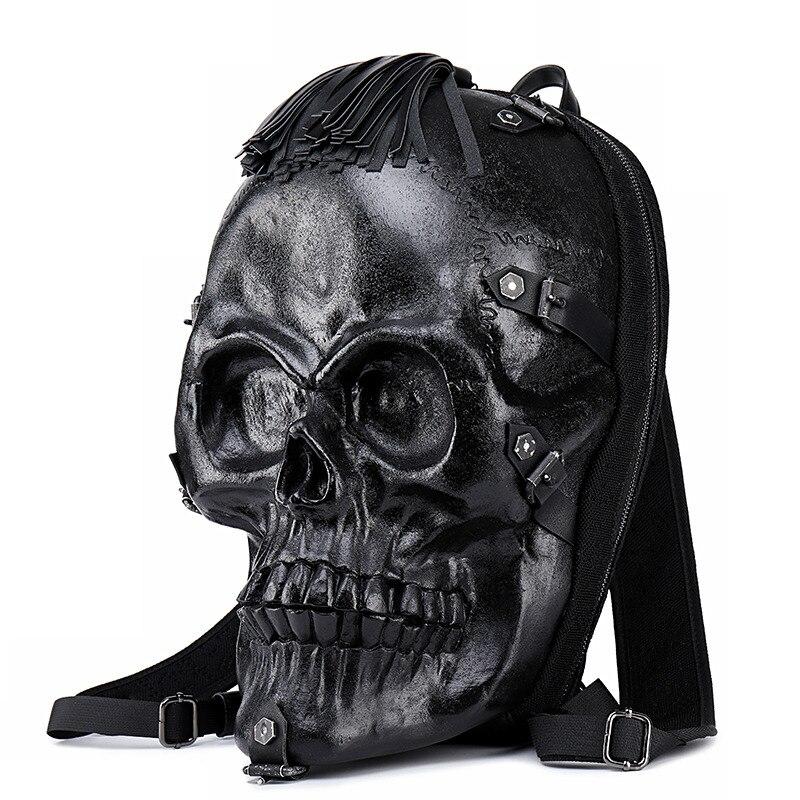 Locomotief persoonlijkheid 3D schedel mannen rugzak creatieve grappige rugzak vrouwelijke tas hip hop rock trend cool knappe 3D afdrukken - 2