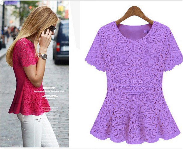 51aa1f849c5 US $26.9  saias femininas xxxxl lace tee shirts girl summer ladies tops  cute candy purple rose bodysuit tshirts tees clothes free shipping-in  T-Shirts ...