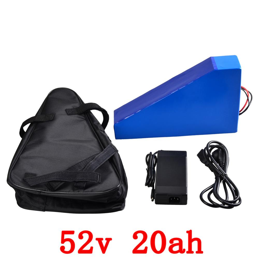 US EU No Tax Electric Bicycle 52V 20Ah Lithium ion Battery 52V 1000W e bike Triangle Battery Pack 14S with 30A BMS+ Charger customize 51 8v 35ah lithium ion battery triangle style 52v 1500w electric bike battery with bag bms for sanyo ga3500 cell
