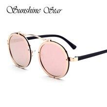 Pop Age Vintage Pink Round Sunglasses New Luxury Brand Design Sunglasses Women Men Retro Metal Frame High Quality Oculos