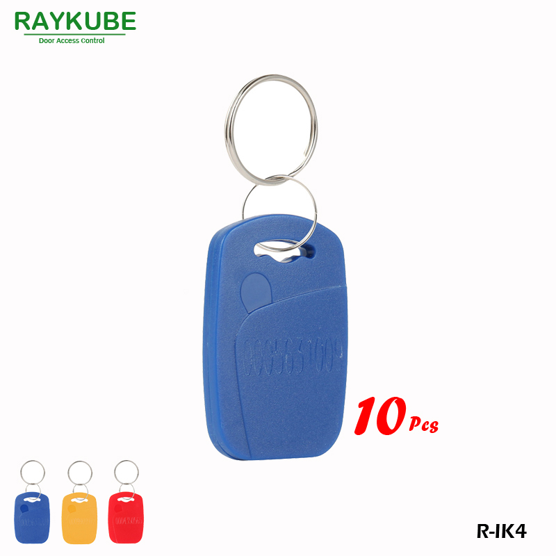 RAYKUBE R-IK4 Square Keyfob 10Pcs/Lot 125Khz RFID Proximity Keyfobs For Door Access System Three Colours raykube 125khz rfid proximity keyfobs 10pcs lot tk4100 em keytags rfid for access control keyfobs r ik1