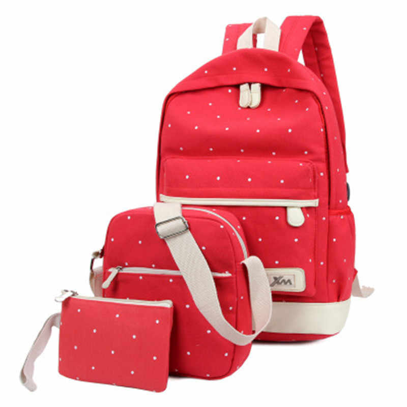 d00973a8584 ... NIBESSER 3pcs set Dot Backpack High Quality Canvas School Book Bags For Girls  Backpacks Mochila ...