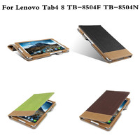 Tab4 8 Stand Pu Leather Case Book Cover Capa Para For Lenovo Tab 4 8 TB