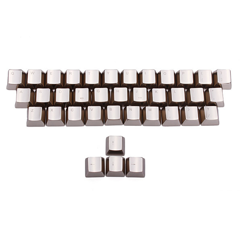 MKC Silver Metal Keycaps 37 Key Kirsite Key Caps For Cherry MX Switches Mechanical Keyboard Metal