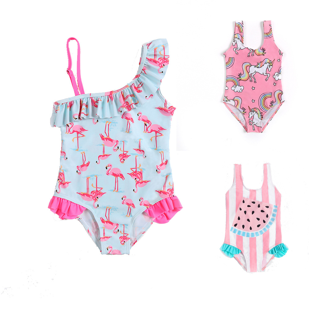 Toddler Kid Baby Girls One-Piece Swimsuit Flamingo Ruffled Swimwear Beachwear Bathing Suit Hat Set 1-6Y