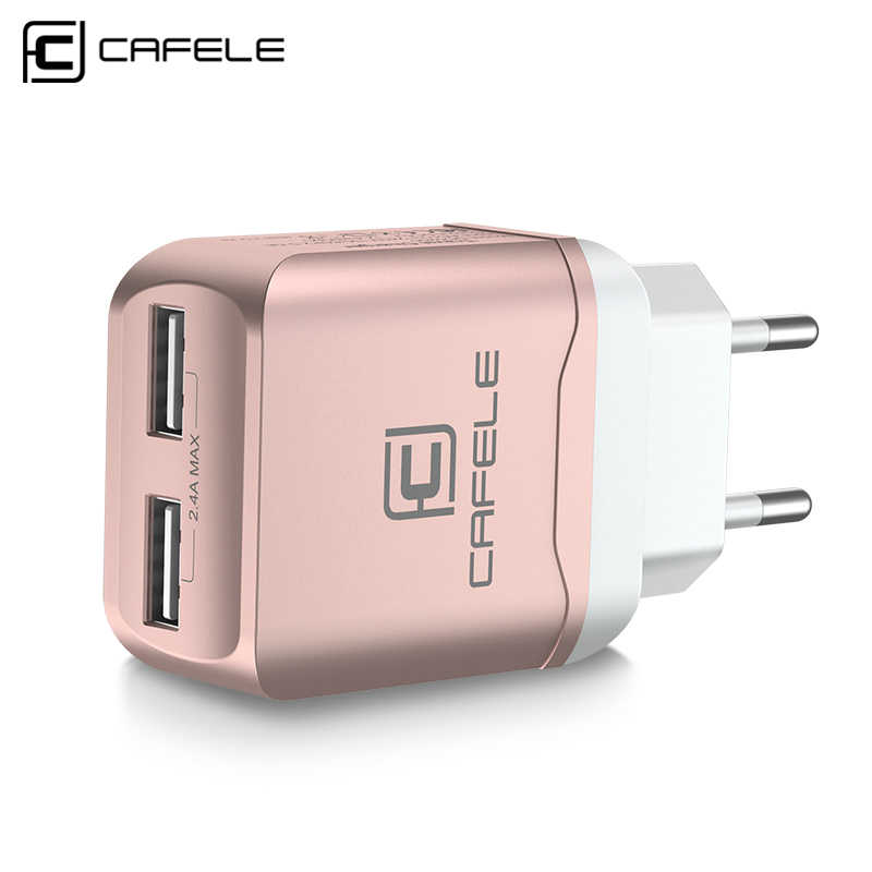 CAFELE EU Charger Plug Travel USB 2.4A Dual output Universal Adapter Charger Smart Phone Charger with 2 in 1 Retractable cable