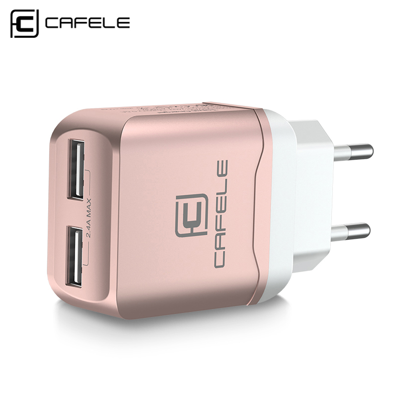 CAFELE EU Charger Plug Travel USB 2.4A Διπλή έξοδος Universal Adapter Charger Smart Phone Charger with 2 in 1 ανασυρόμενο καλώδιο