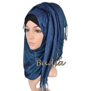 Image 2 - one piece shimmer solid plain glitter hijab scarf shinny metallic long tassel muslim viscose lurex shawl islamic head wraps