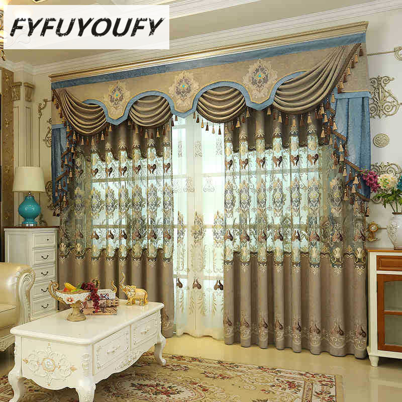 European Luxury King Queen Embroidered Gold Blind Curtains