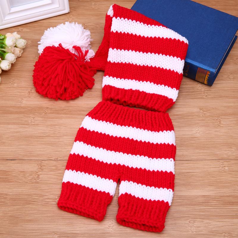 Newborn Baby Cute Crochet Knit Costume Strip Baby Hat Halloween Pumpkin Design Costume Comfortable Set For Photo Props