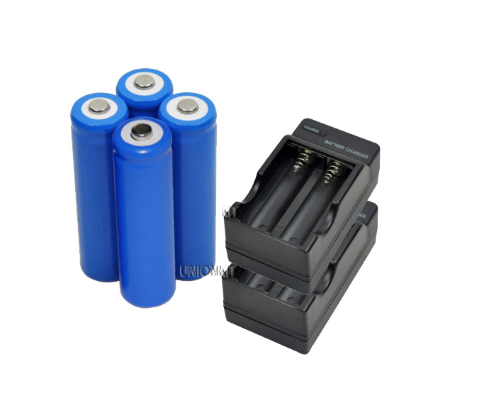 New 4 piece 14500 camera AA Camera LED Torch Rechargeable Li-ion Battery with 2 piece charger