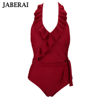 JABERAI Falbala Retro One Piece Swimsuit Women Ruffle Halter Swimwear Blackness Bathing Suit With Waistband Vintage