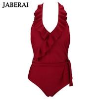 JABERAI Falbala Retro One Piece Swimsuit Women Ruffle Halter Swimwear Blackness Bathing Suit With Waistband Vintage