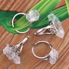wholesale 10Pcs Charm Silver Plated White Quartz Crystal Stone Random Shape Adjustable Finger Ring Jewelry