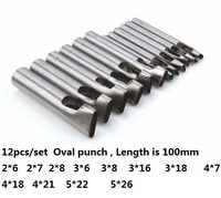 12pcs/set Leather Hole Punch Oval Angle Spacing Belt Punching Tools DIY Craft Hole Punch Leather Drilling Tool
