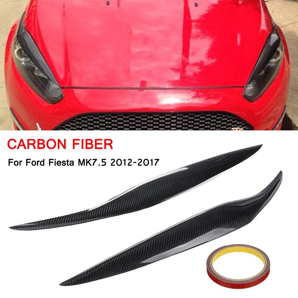 Autocollants de paupières de sourcil de phare de Fiber de carbone décoration de revêtement d'habillage pour le style de voiture de Fords Fiesta Facelift MK7.5 2012-2017