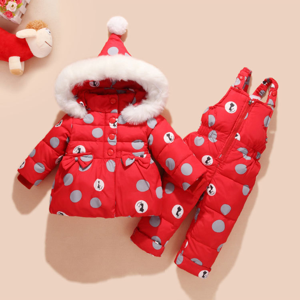 Warm Duck Down Baby Winter Overalls Snowsuit Cute Bowknot Polka Dot Hoodies Jacket and Jumpsuit Set Winter Baby Suit Overalls цена