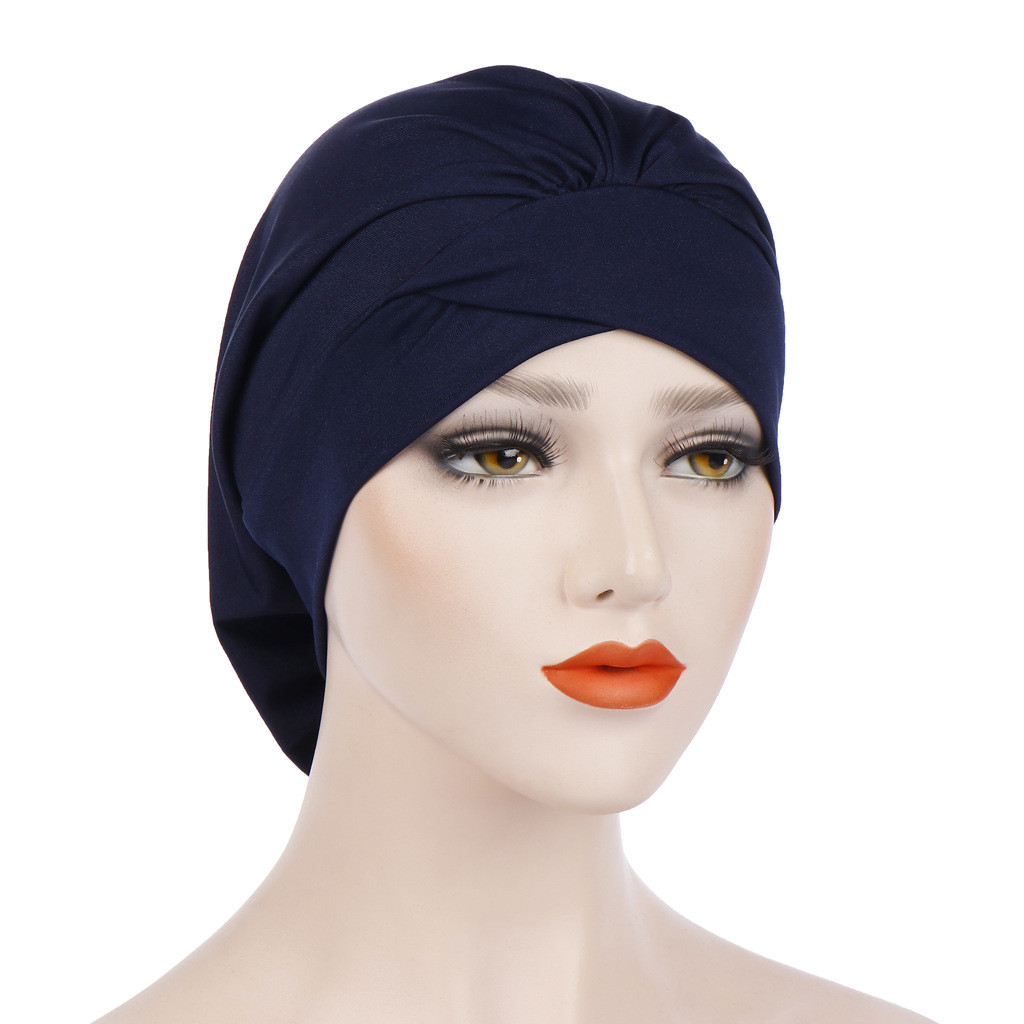 Solid Turban Wrap Cheveux Women Women India Hat Muslim Ruffle Cancer Chemo Beanie Turban Wrap Cap Hijab Femme Musulman#P6(China)