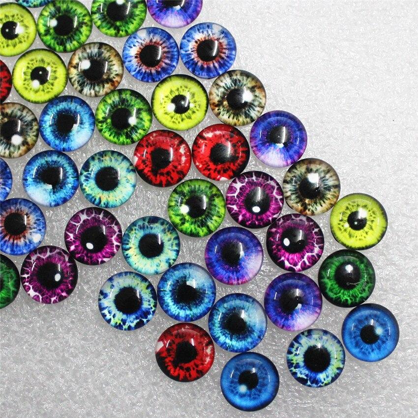 12mm Random Mixed Dragon Eyes Round Glass Cabochon Flatback Photo Dome Jewelry DIY Accessories 50pcs/lot K06034