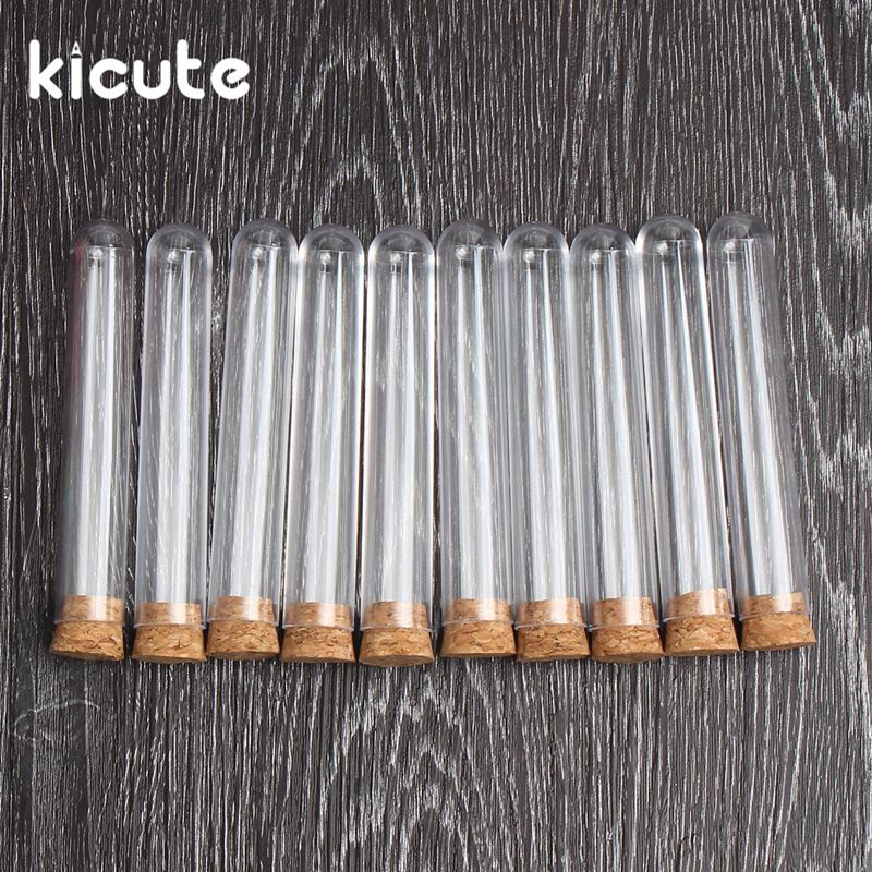 Kicute 10pcs/lot Transparent Plastic Test Tube With Cork Stoppers Round Bottom 18x100mm School Laboratory Educational Supplies