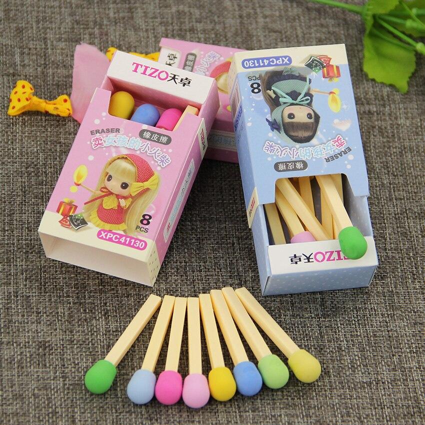 ᗜ Ljഃ8 unids/pack coincide con goma de borrar para lápiz lindo ...