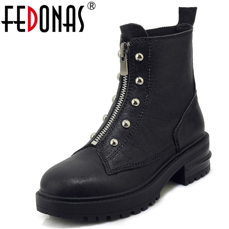 FEDONAS 1Fashion Women Ankle Boots Zipper Genuine Leather Autumn Winter Warm High Heels Shoes Woman Round Toe Motorcycle Boots недорго, оригинальная цена